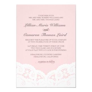 Elegante se ruboriza la invitación del boda del invitación 12,7 x 17,8 cm