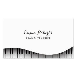 Elegante simple del teclado de piano del profesor tarjetas de visita