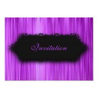 """Elegante toda la cortina de la púrpura del negro invitación 5"""" x 7"""""""