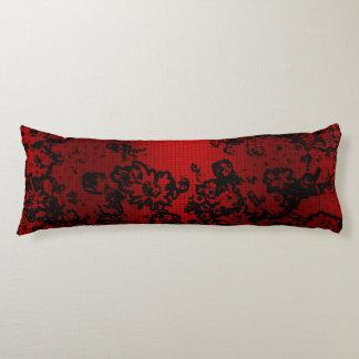 Elegante vibrante floral elegante negro rojo de almohada