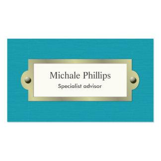 Elegante vintage clásico madera azul serio sobrio tarjetas de visita