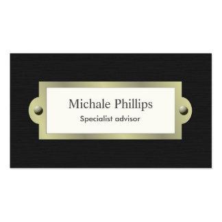 Elegante vintage clásico madera negro serio sobrio tarjetas de visita