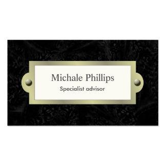 Elegante vintage clásico terciopelo negro serio tarjetas de visita