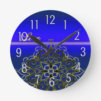 Eleganted Blue Love Damask Multi Products seleted Round Wall Clock
