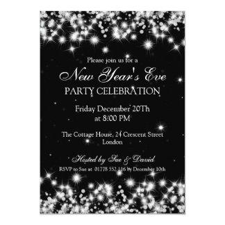 Elegantes de Noche Vieja del invierno el negro de Invitación 12,7 X 17,8 Cm