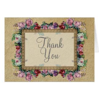 Elegantes formales florales del brocado del oro le tarjeta de felicitación