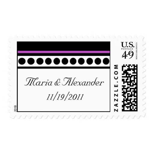 Elegantly Dotted Purple Accent Postage Stamps
