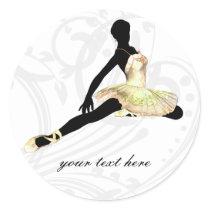elegantly dressed ballerina in ivory classic round sticker