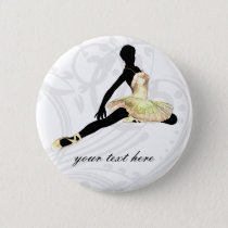 elegantly dressed ballerina in ivory pinback button