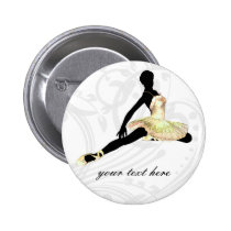 elegantly dressed ballerina in ivory pinback button