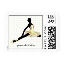 elegantly dressed ballerina in ivory postage
