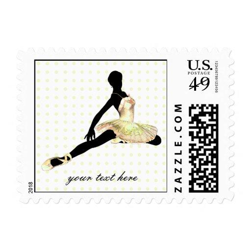 elegantly dressed ballerina in ivory postage stamp