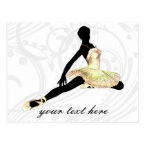 elegantly dressed ballerina in ivory postcard