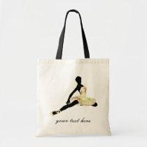 elegantly dressed ballerina in ivory tote bag