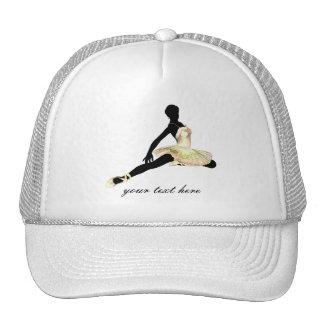 elegantly dressed ballerina in ivory trucker hat