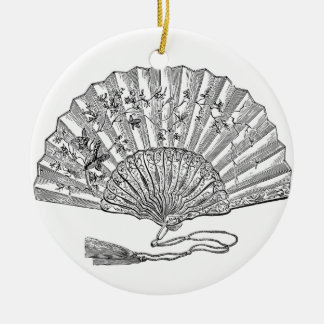 Elegantly historical Lady's fan Ceramic Ornament