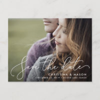 Elegantly Penned | Photo Save the Date Announcement Postcard