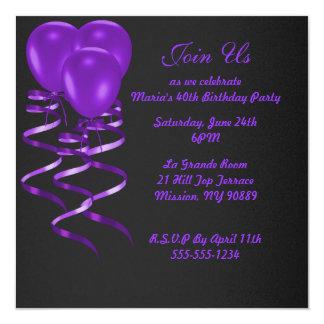 Elegent purple ballon birthday party invitations