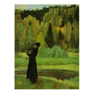 Elegía de Mikhail Nesterov-. Músico ciego Tarjetas Postales