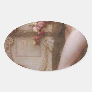Elegía de William-Adolphe Bouguereau Pegatina Ovalada