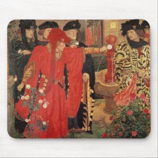 Elegir los rosas rojos y blancos en templo alfombrilla de ratones
