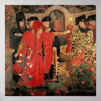 Elegir los rosas rojos y blancos en templo póster