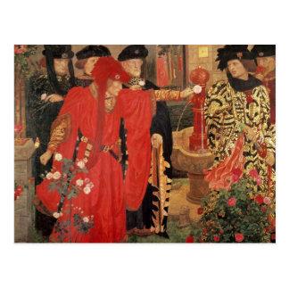 Elegir los rosas rojos y blancos en templo tarjetas postales