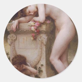 Elegy by William-Adolphe Bouguereau Classic Round Sticker