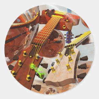Elektro gitar pegatina redonda