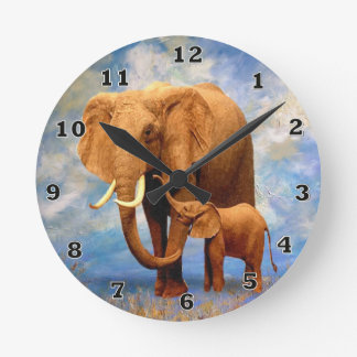 Elelphant Mother and Baby Wall Clock