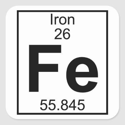 Fe Iron Chemistry Periodic Table Symbol Element Square Sticker
