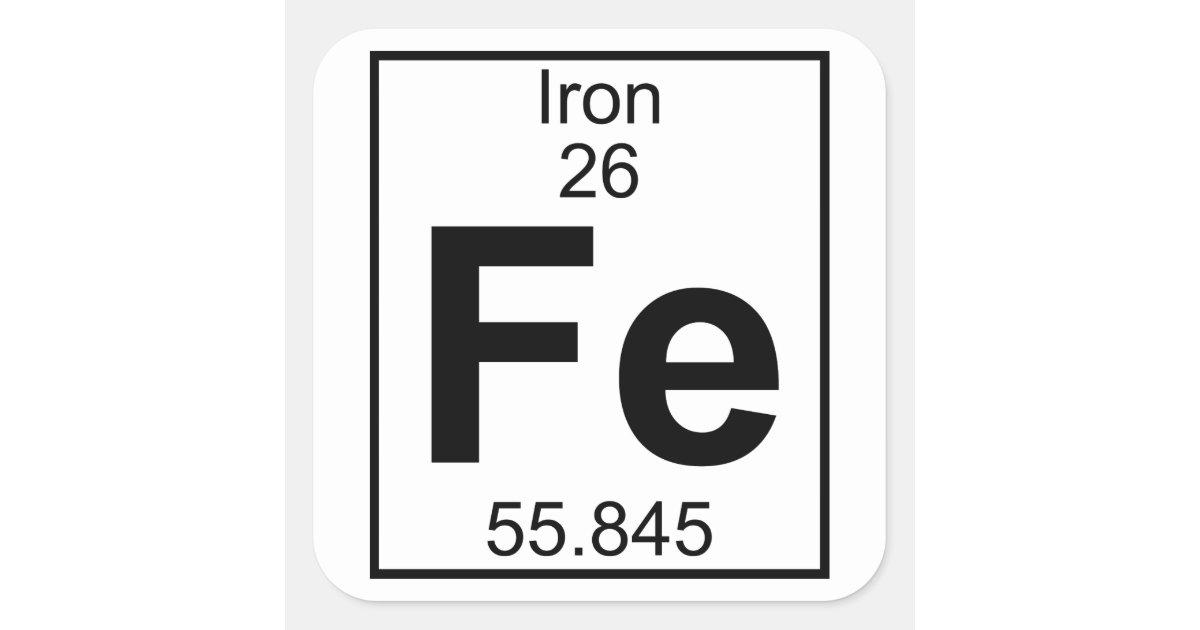 Element 026 Fe Iron Full Square Sticker Zazzle