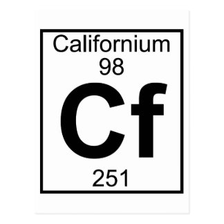 Element 098 - Cf - Californium (Full) Postcard