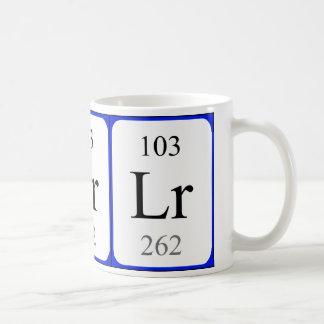 Element 103 white mug - Lawrencium