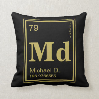 Element of You! Gold Element Custom Name Throw Pillow