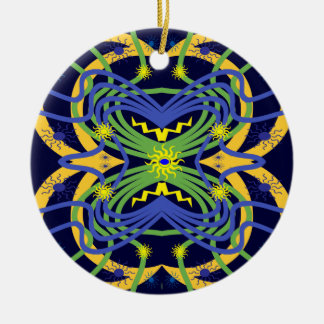 Elemental Abstract Double-Sided Ceramic Round Christmas Ornament