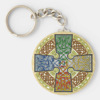 Elemental Celtic Cross Medallion Keychain