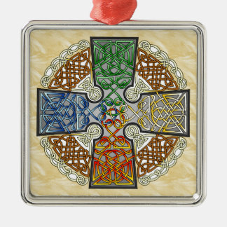 Elemental Celtic Cross Medallion Metal Ornament