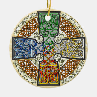 Elemental Celtic Cross Medallion Double-Sided Ceramic Round Christmas Ornament