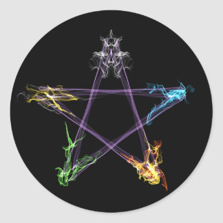 Elemental Energy Pentacle Classic Round Sticker