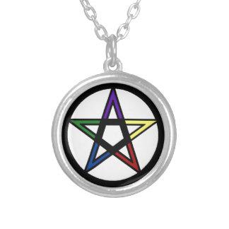 Elemental Pentacle Round Pendant Necklace