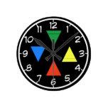 Elemental Pentacle Round Wall Clocks