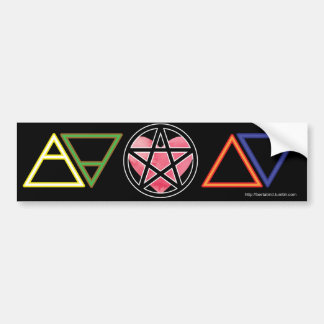 Elemental symbols with heart and pentacle bumper sticker