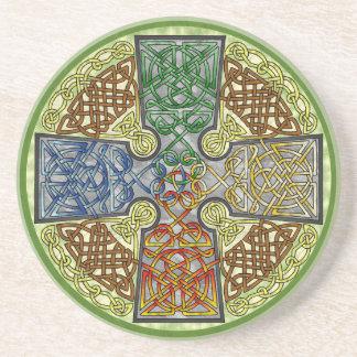 Elemental-Textured Celtic Cross Medallion Coaster