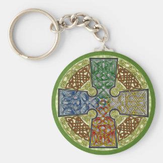 Elemental-Textured Celtic Cross Medallion Keychain