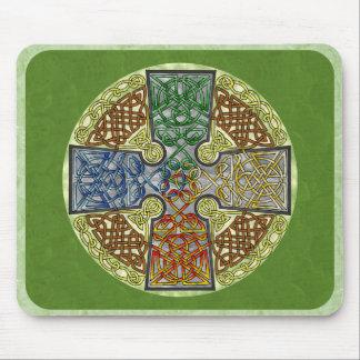 Elemental-Textured Celtic Cross Medallion Mouse Pad