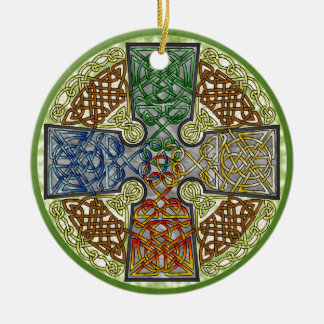 Elemental-Textured Celtic Cross Medallion Double-Sided Ceramic Round Christmas Ornament