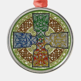 Elemental-Textured Celtic Cross Medallion Round Metal Christmas Ornament