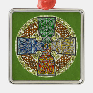 Elemental-Textured Celtic Cross Medallion Square Metal Christmas Ornament