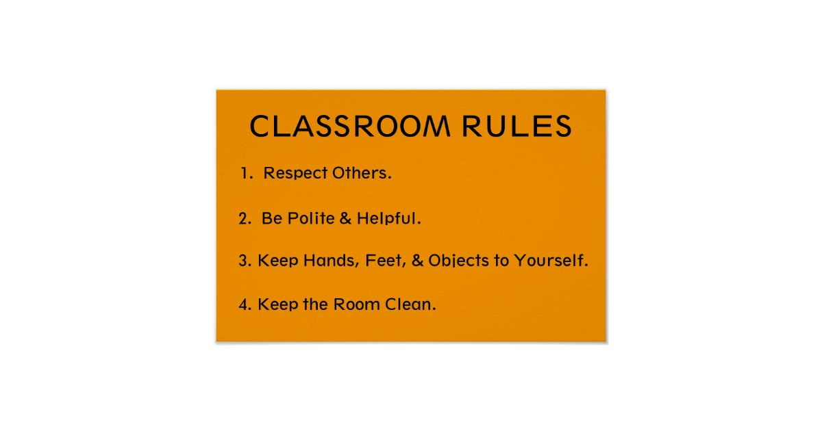 Elementary Classroom Rules ~ Elementary classroom rules poster zazzle
